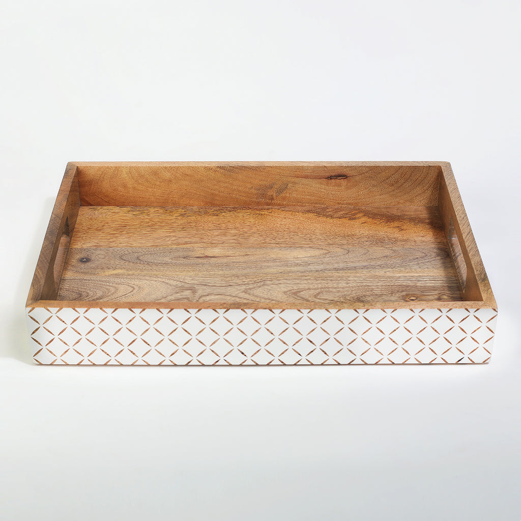 Rusticity Wood Serving Tray for Dining/Breakfast/Coffee Table|Mango Wood|Handmade|(14.5x9.75x2 in)