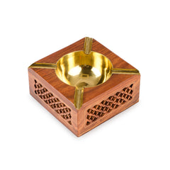Rusticity Wood Ashtray  for Cigarette with Brass Bowl | Handmade | (4x4 in)