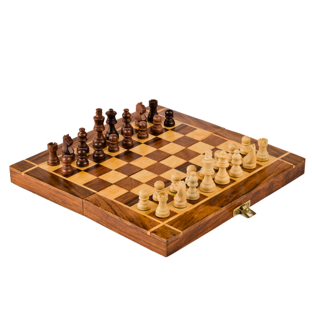 Rusticity Wood Magnetic Chess Set with Folding Board and Chess Pieces | Handmade | (10x10 in)