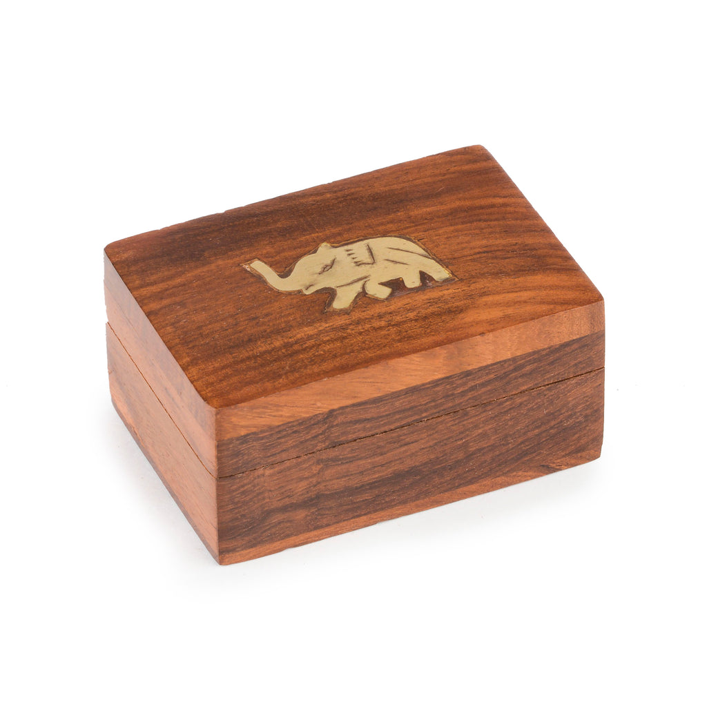 Rusticity Wood Jewelry Box Decorative ( Carved ) - Elephant design | Handmade | (3x2 in)