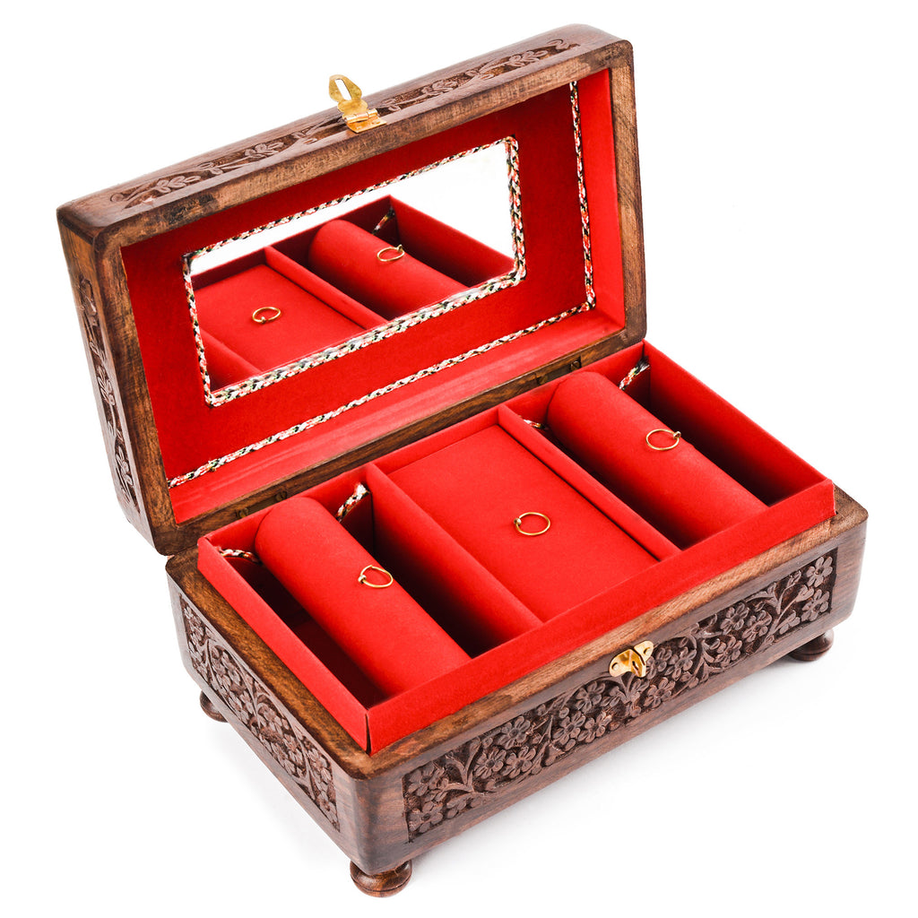 Rusticity Wood Jewelry Box Organizer with compartments | Handmade | (10x6 in)