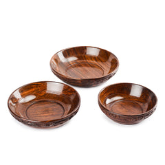 Rusticity Wooden Serving Bowls - Set of 3 | Handmade |(6 in, 7 in, 8 in)