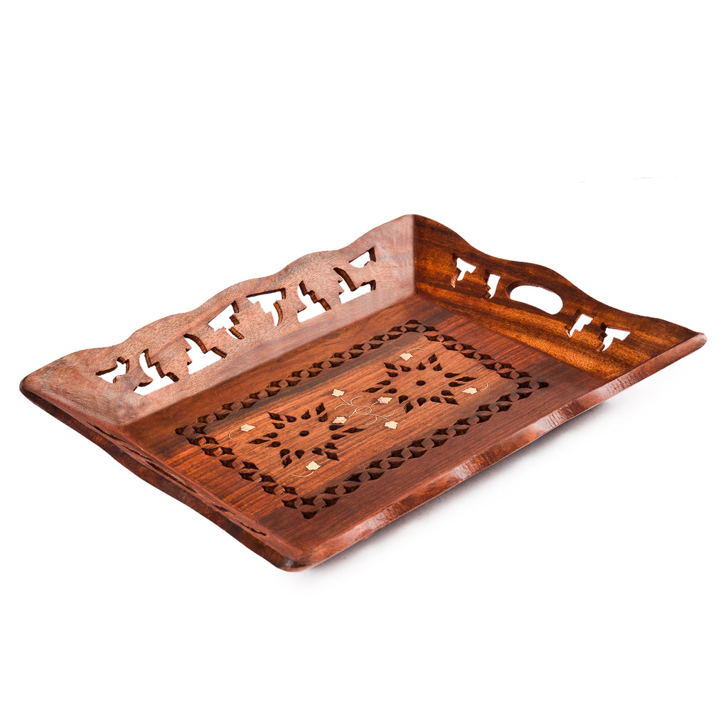 Rusticity Wood Serving Tray Platter - Small carved | Handmade | (10x8 inch)