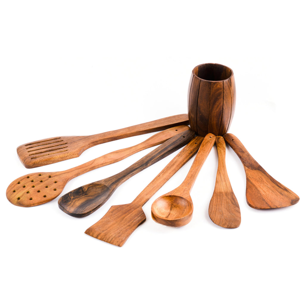 Rusticity Wood Kitchen Tools Set 7 piece with Holder | Handmade | (15x4 in)