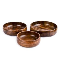 Rusticity Wooden Serving Bowls - Set of 3 | Handmade |(4 in, 6 in, 8 in)