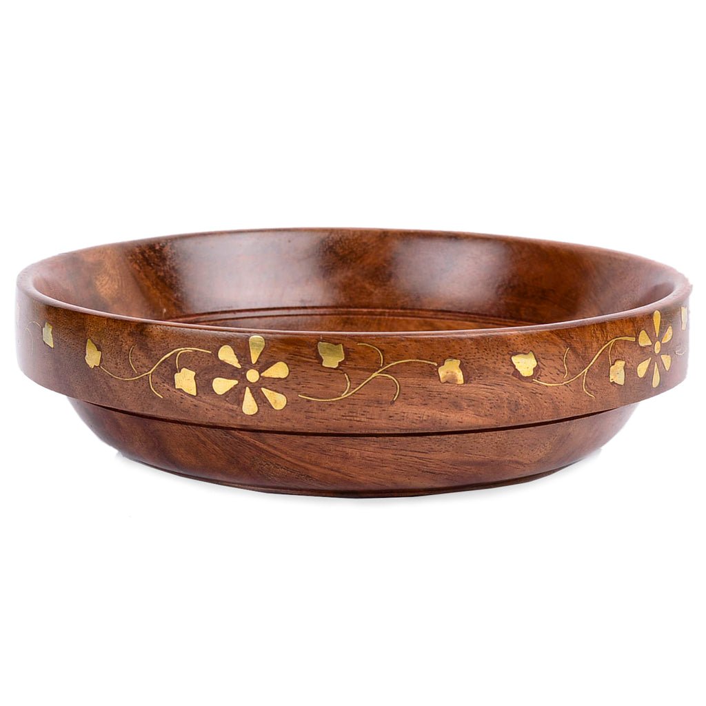 Rusticity Wooden Serving Bowl - Brass | Handmade | (7in)