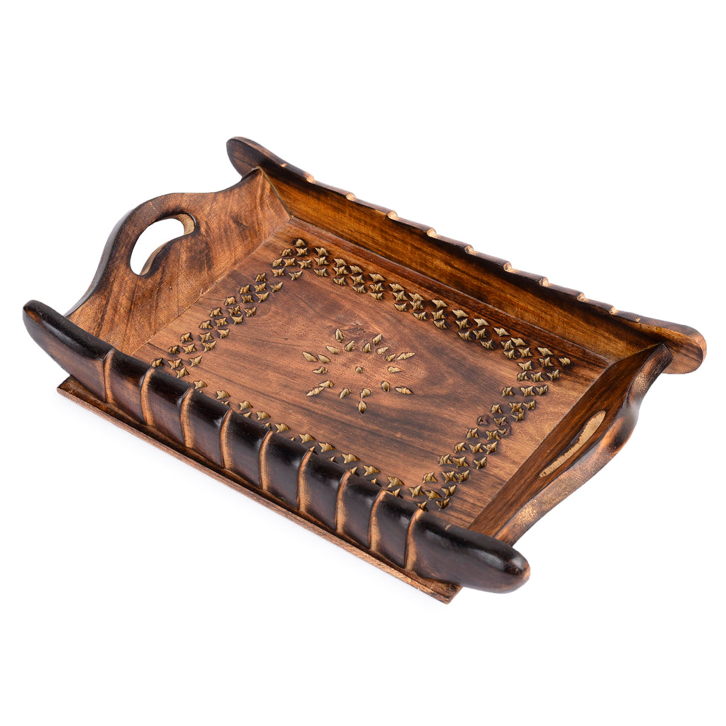Rusticity Wooden Serving Tray - Antique Meshwork | Handmade | Medium