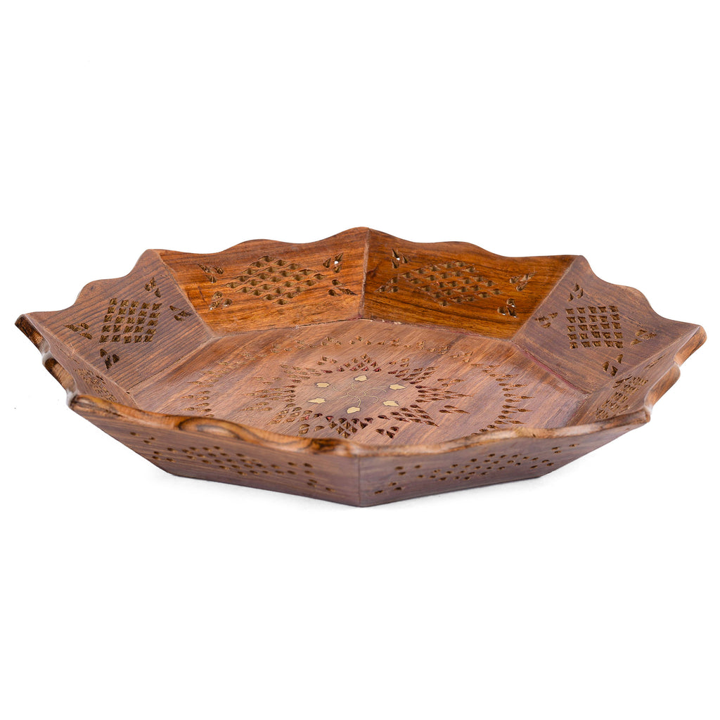 Rusticity Wooden Serving Tray Round - Brass Meshwork | Handmade | Large