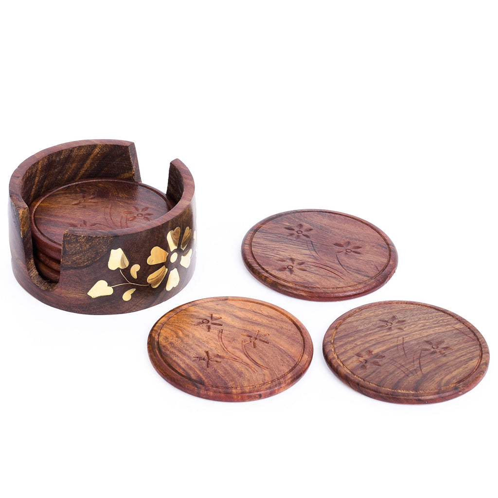 Rusticity Cool Wood Coaster Set of 6 with Lotus Bowl Holder - Brasswork | Handmade | (4x4 in)