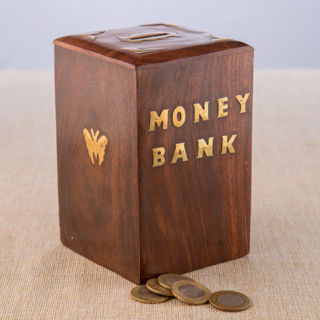 Rusticity Wood Piggy Bank for Kids and Adults - Butterfly motif | Handmade | (6x4 in)