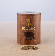 Rusticity Wooden Piggy Bank for Kids and Adults - Elephant Motif | Handmade | (4x4 in)