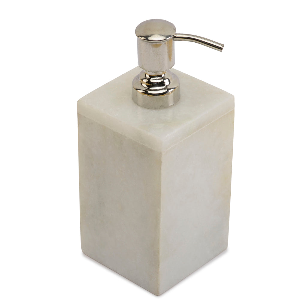 Rusticity Marble Soap Dispenser with Pump - Plain White | Handmade |