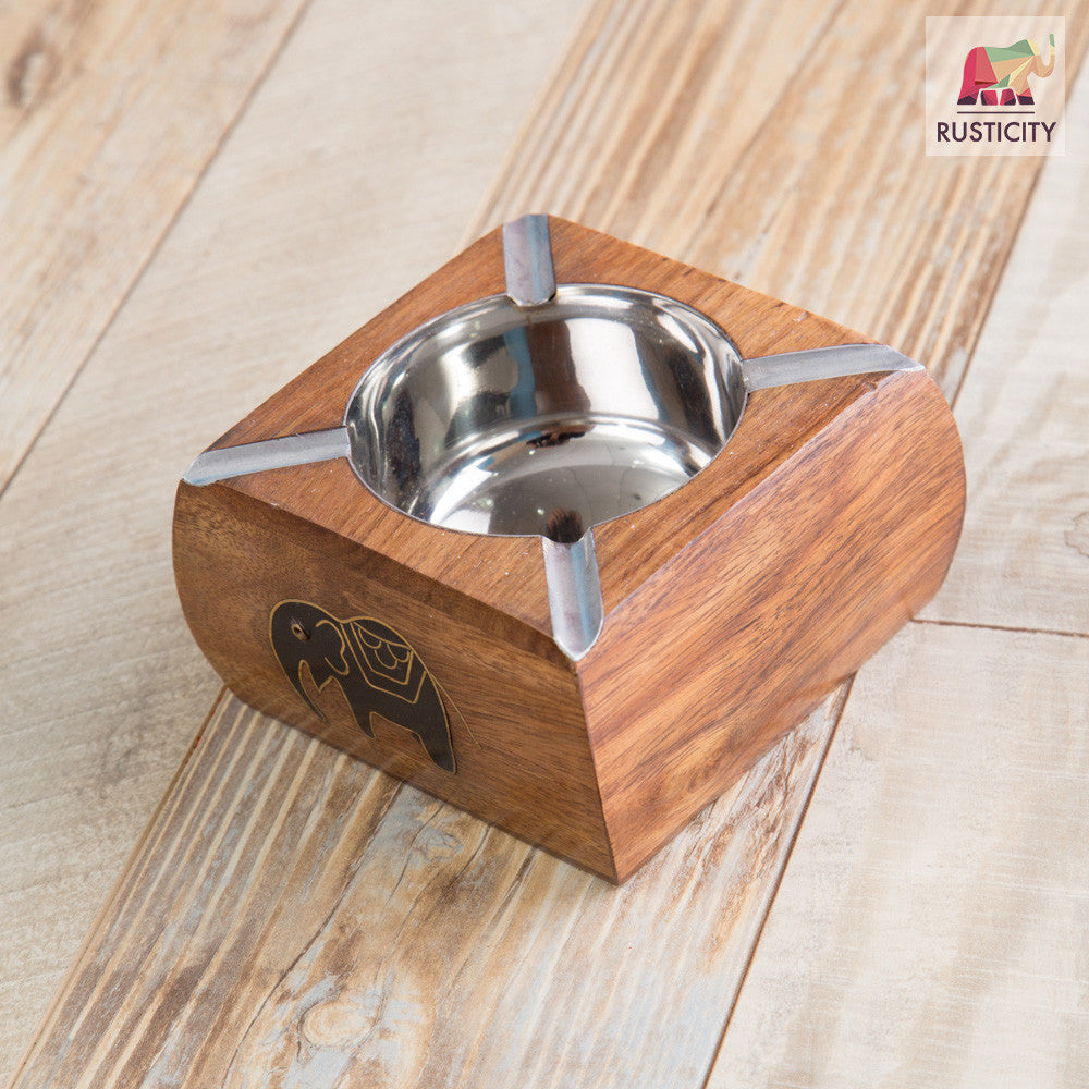 Rusticity Wood Ashtray with Steel Bowl | Handmade | (4.5x4.5 in)