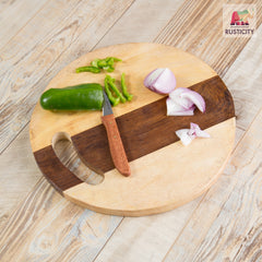 Rusticity Wood Chopping / Cutting Board Round | Handmade | (11.1in x 11.1in)