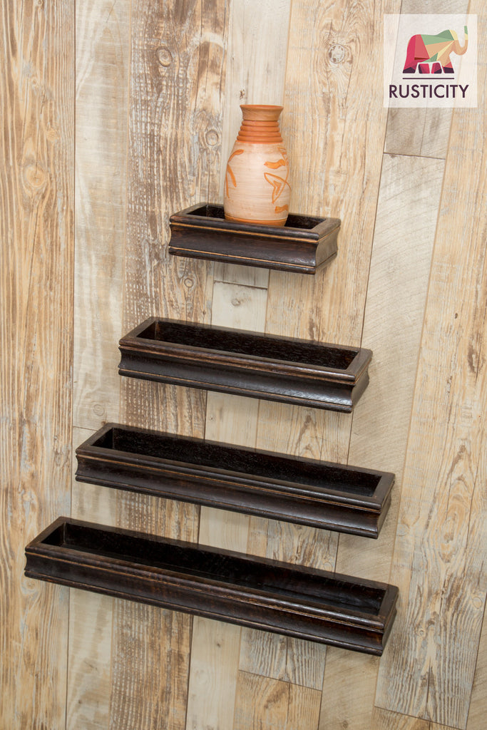 Rusticity Wooden Wall Rack/ Floating Shelf with hardware included - Set of 4 - Black | Handmade | (19.6in x 4.2in)