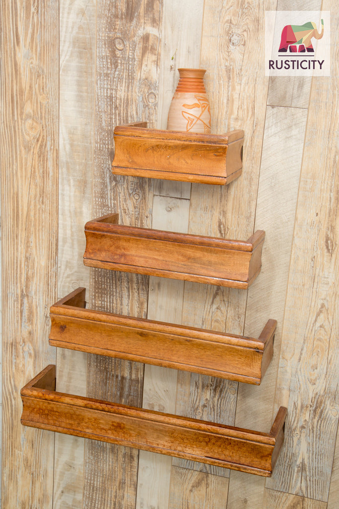 Rusticity Wooden Wall Rack/ Floating Shelf with hardware included - Set of 4 - Brown | Handmade | (21in x 6.5in)
