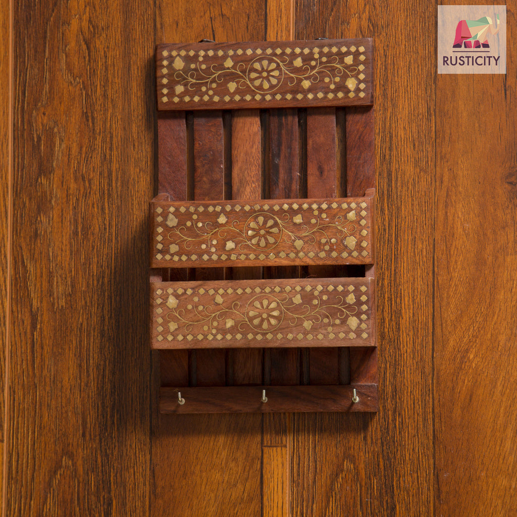 Rusticity Wooden Key and Letter Rack | Handmade | (10x6in)