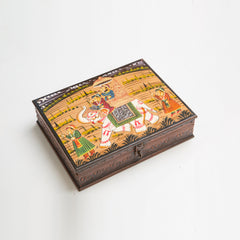 Rusticity Wooden Decorative Jewelry Box - Rajasthani Oil Painting | Handmade |