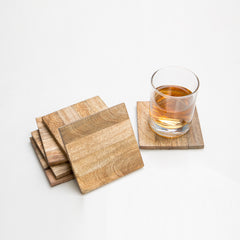 Rusticity Cool Wood Coaster Set of 6 - Square Design| Handmade | (4x4in)