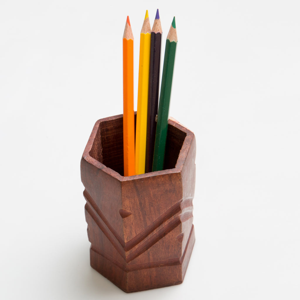 Rusticity Wooden Pencil/Pen Holder for Desk, Office and Home | Handmade | (2.5 in x 2.5 in)