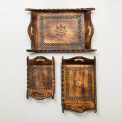 Rusticity Wood Serving Tray Set of 3 - Antique Mesh Work | Handmade | (15x10in)