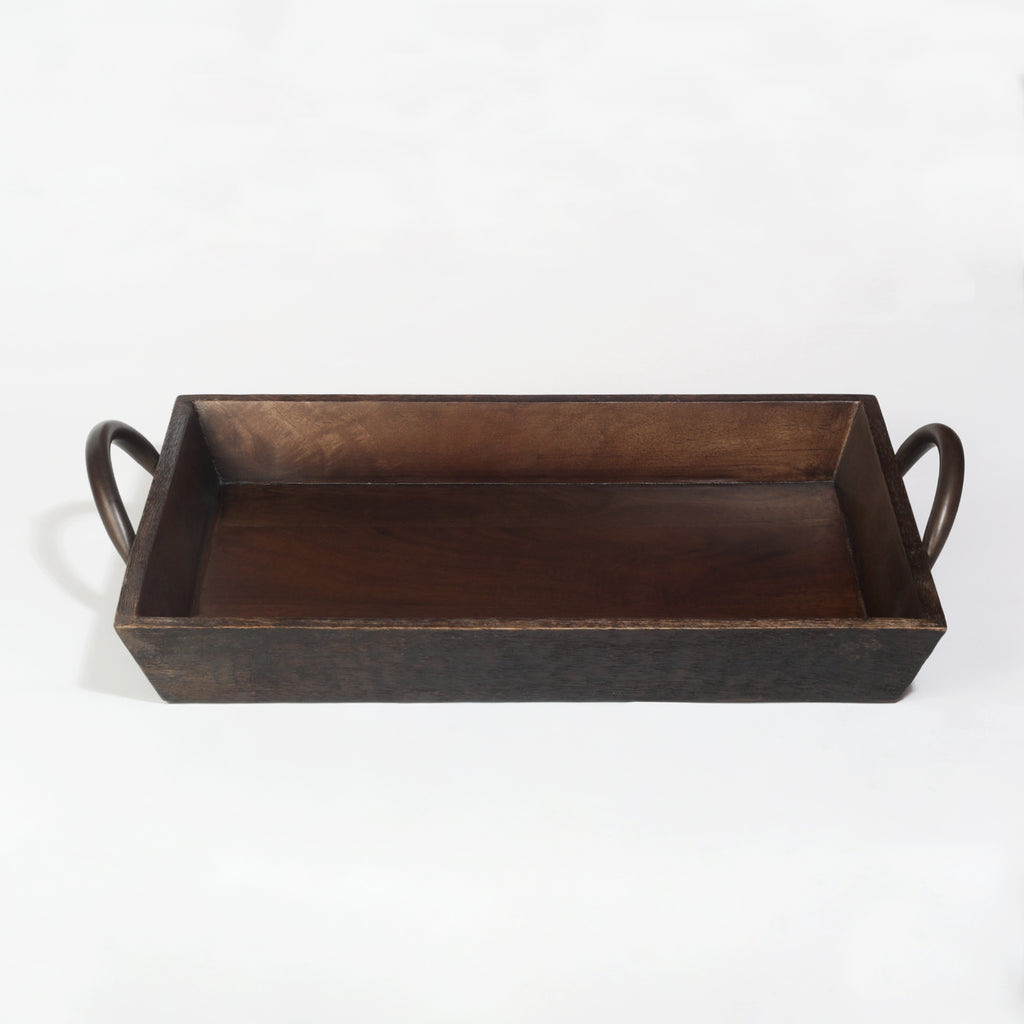 Rusticity Wood Serving Tray for Dining/Breakfast/Coffee Table- Antique Rustic Finish|Mango Wood|Handmade|(16x11x3.75 in)