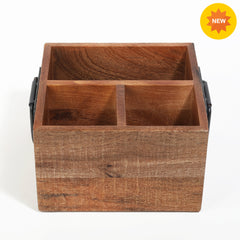 Rusticity 3-Compartment Rustic Burnt Wood Utensil & Napkin Caddy with metal Handles|Mango Wood|Handmade|(9x7.75x5 in)