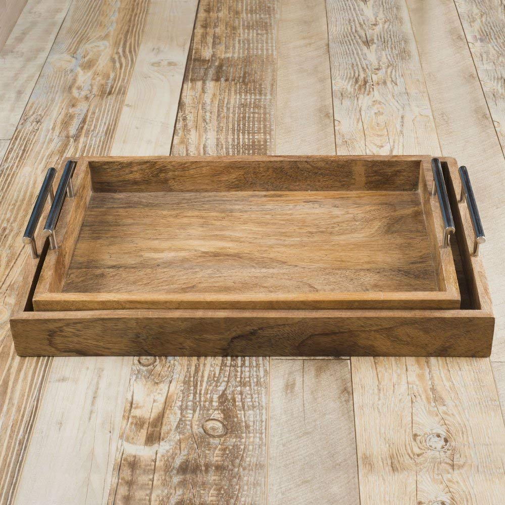Rusticity Wooden Serving Tray, Salad Serving Tray, Dining Serving Tray, Trays with Metal Handle, Handmade Wood Serving Tray with Handle, Set of 2 (17.2 x 11 x 4 in)