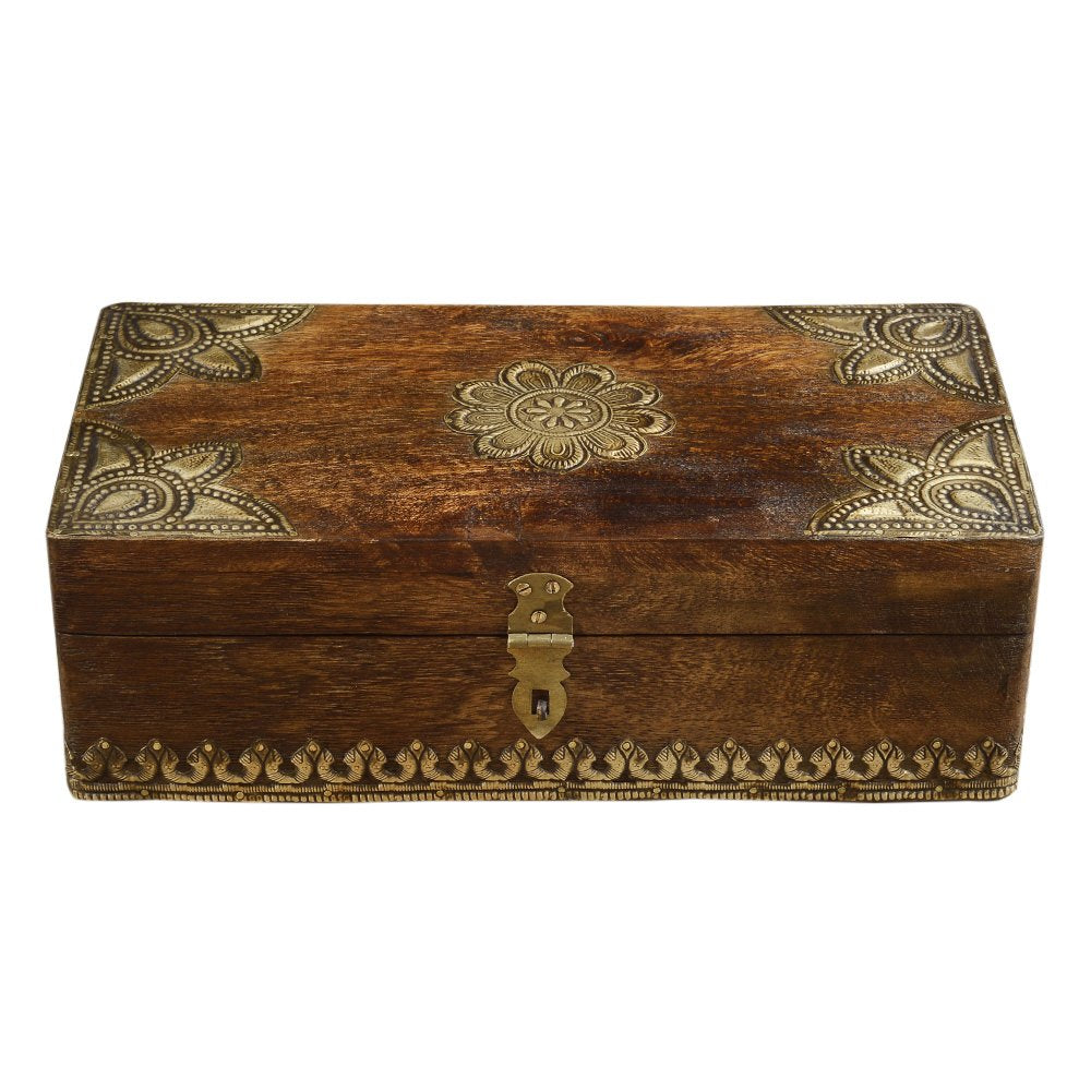 Rusticity Heavy Wood Jewelry Organizer Box | Handmade | (12x6 in)