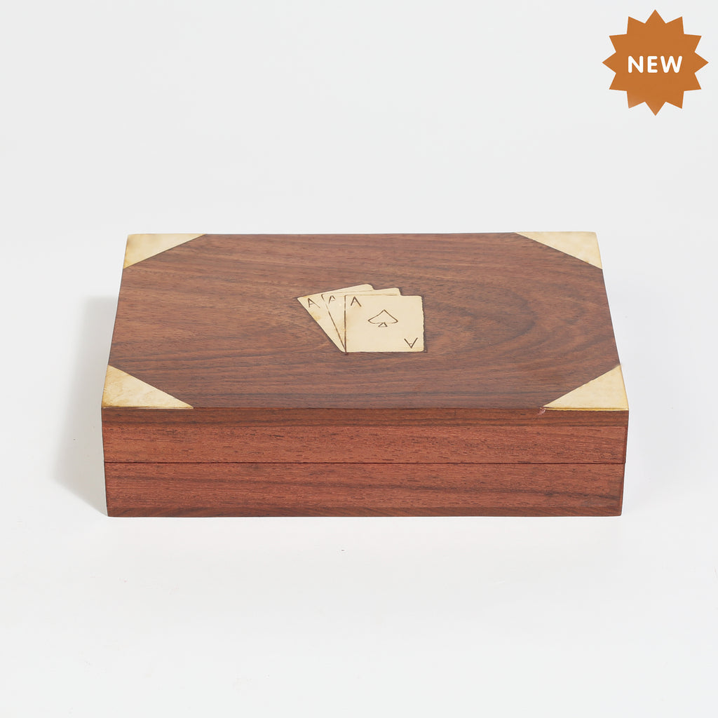 Rusticity Wooden Two Card Box with Two Playing Cards (6.25x4.75x1.5 in)| Free Playing Card Deck Included