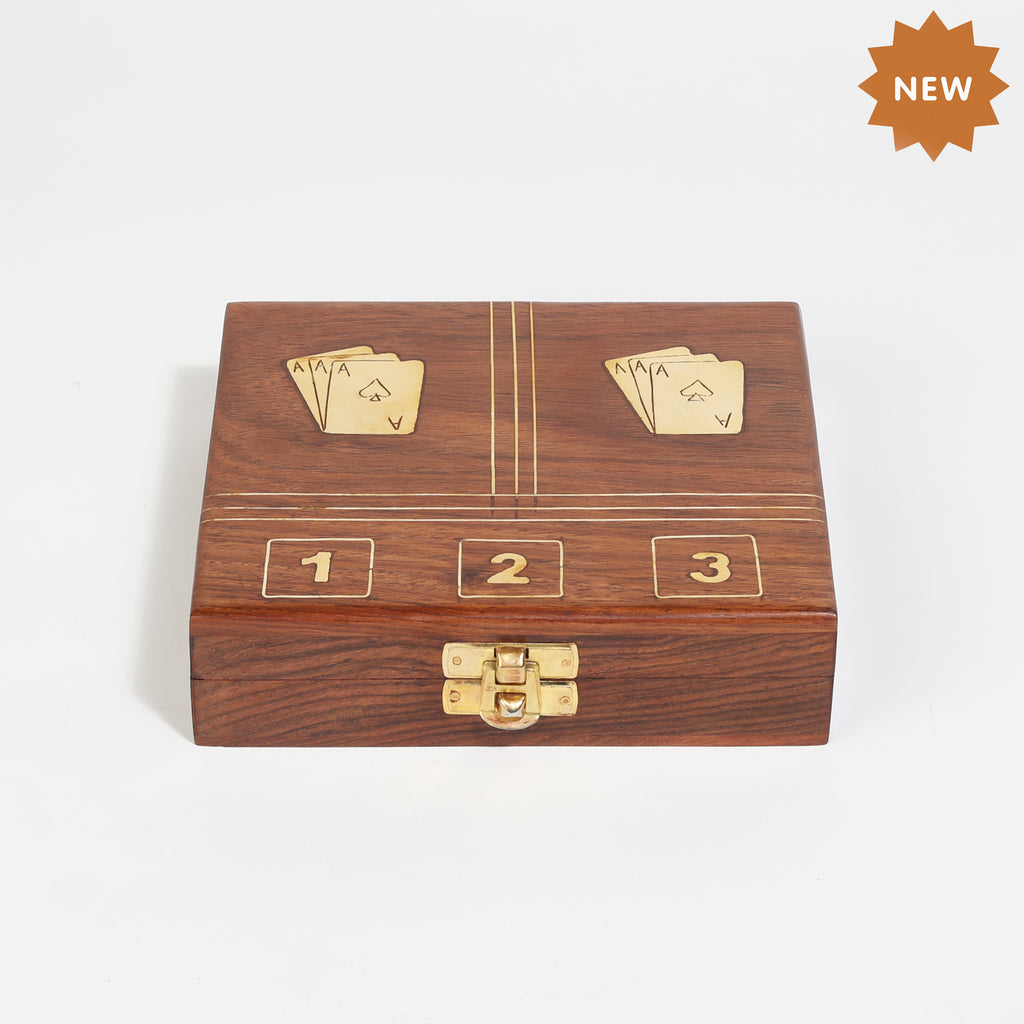 Rusticity Wooden Two Card Box with Dice and 2 Playing Cards (6x5.5x1.5 in)| Free Playing Card Deck Included