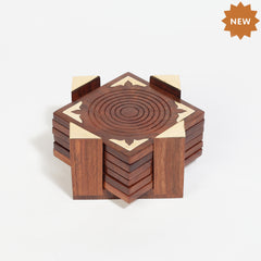 Rusticity Woodend Coaster Set of 6, Handmade 6 Coaster Set|Sheesham Wood|Handmade | (5.5x5.5x2.75 in)
