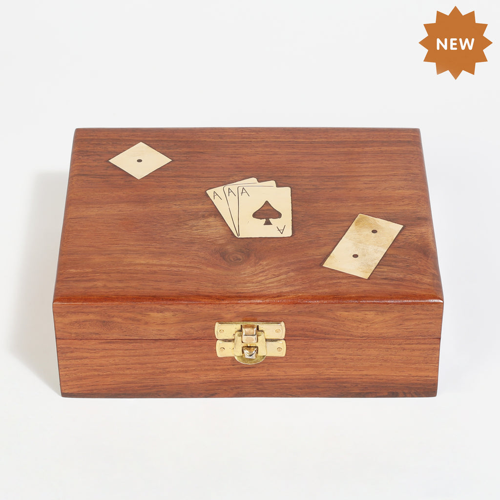 Rusticity Wooden Dominoes with Dice and Playing Cards, (7x5.5x2 in)| Free Playing Card Deck Included