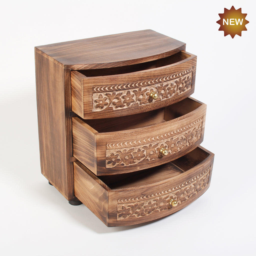 Rusticity® Wooden Wooden Mini Almirah Jewellery Organiser, Jewelery Storage Box with 3 Drawer | Mango wood| Handmade |(9x5.25x9.75 in)