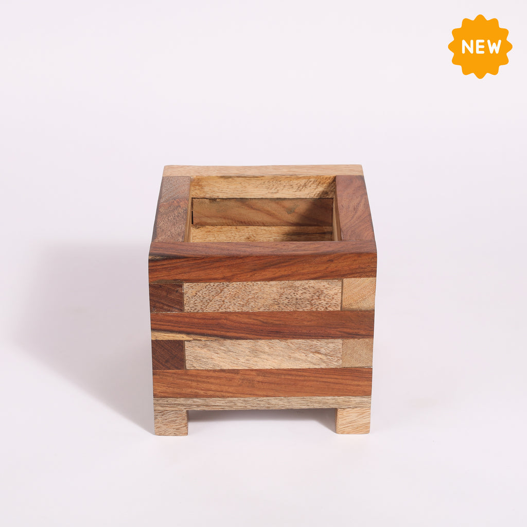 Rusticity® Wooden Planter Box |Mango & Sheesham Wood|Handmade|(5x5x4.75 in)