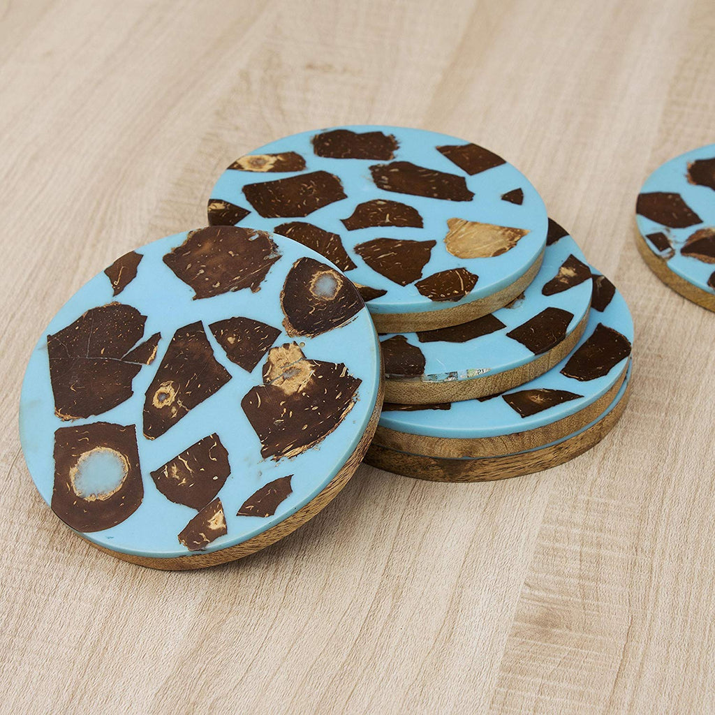 Rusticity Wood Coaster Set of 6, Wood Layered with an Anti Slip Blue Coating of Resin & Coconut Shell | Mango Wood | Handmade Coaster Set| (4x4 in)