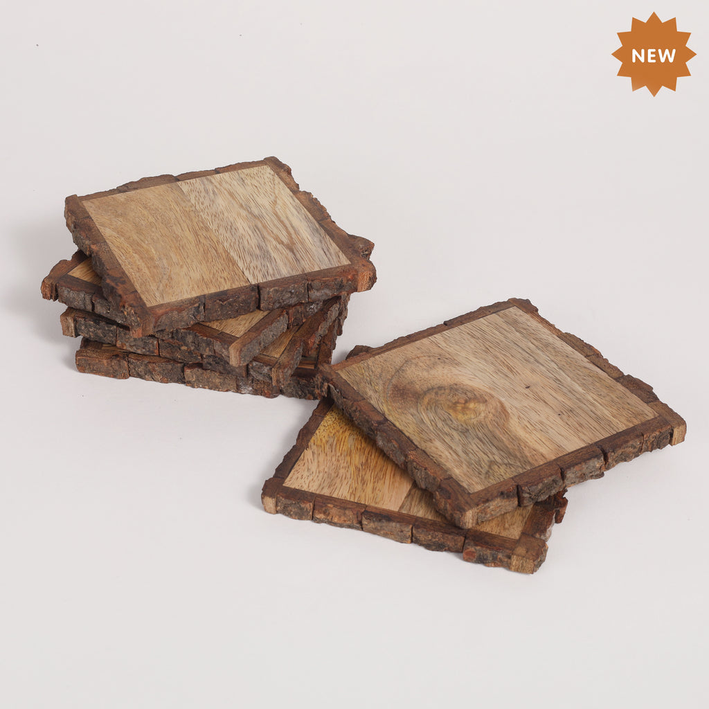 Rusticity® Wood Set of 4 Coasters for Large Glass, Rustic Coaster Set for Drinks, Home and Kitchen Coaster for Beer & Soft Drinks |Mango Wood|Handmade | (4.1x4.1x0.5 in)
