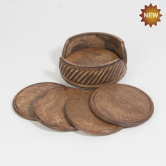 Rusticity® Wooden Coaster Set of 6 | Mango wood| Handmade |(4.5x4.5x2 in)