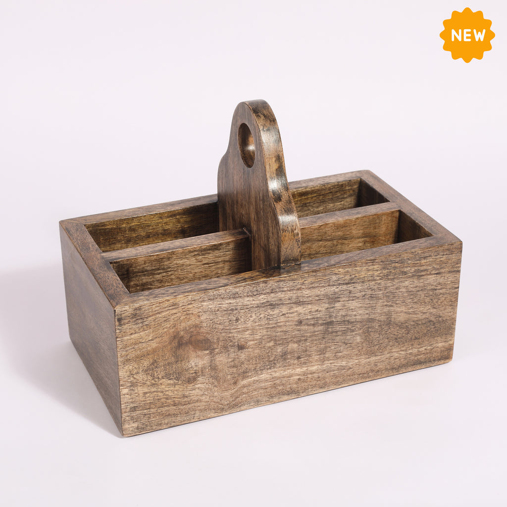 Rusticity® Wood Caddy, Kitchen Organizer, Desk Organizer| Mango Wood| Handmade| (10x5.75x8 in)