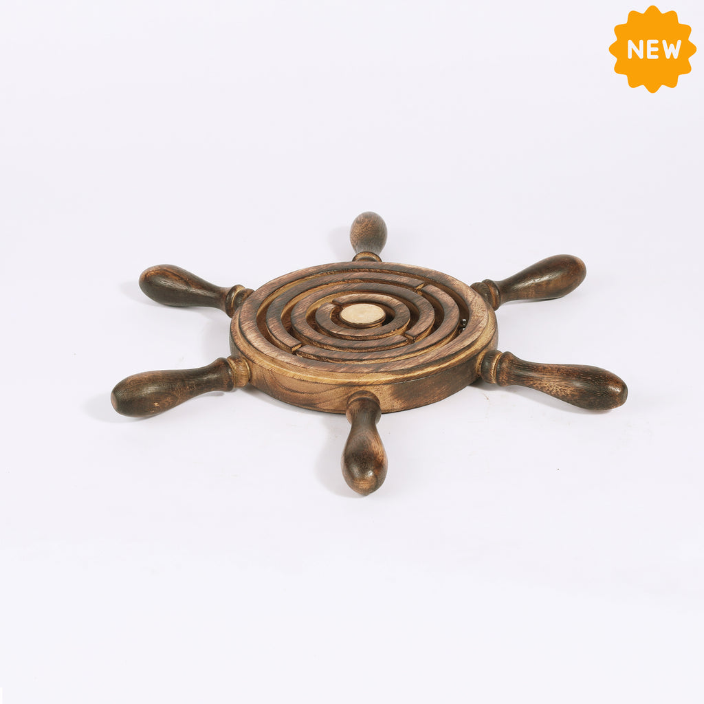 Rusticity® Wooden Circular Labyrinth Maze Puzzle Board Game |Mango & Acacia| Handmade| (11x11x0.75 in)