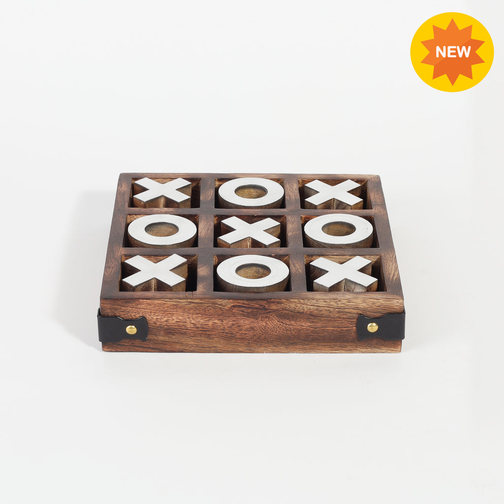 Rusticity® Wooden Tic Tac Toe Game Board |Mango Wood| Handmade |(6.5x6.5x1.25 in)