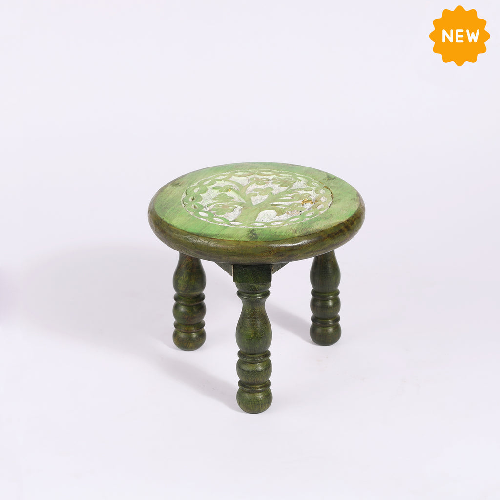 Rusticity® Wooden Pooja Chowki, Small Altar Table | Mango Wood |Handmade| (6x6x4.5 in)
