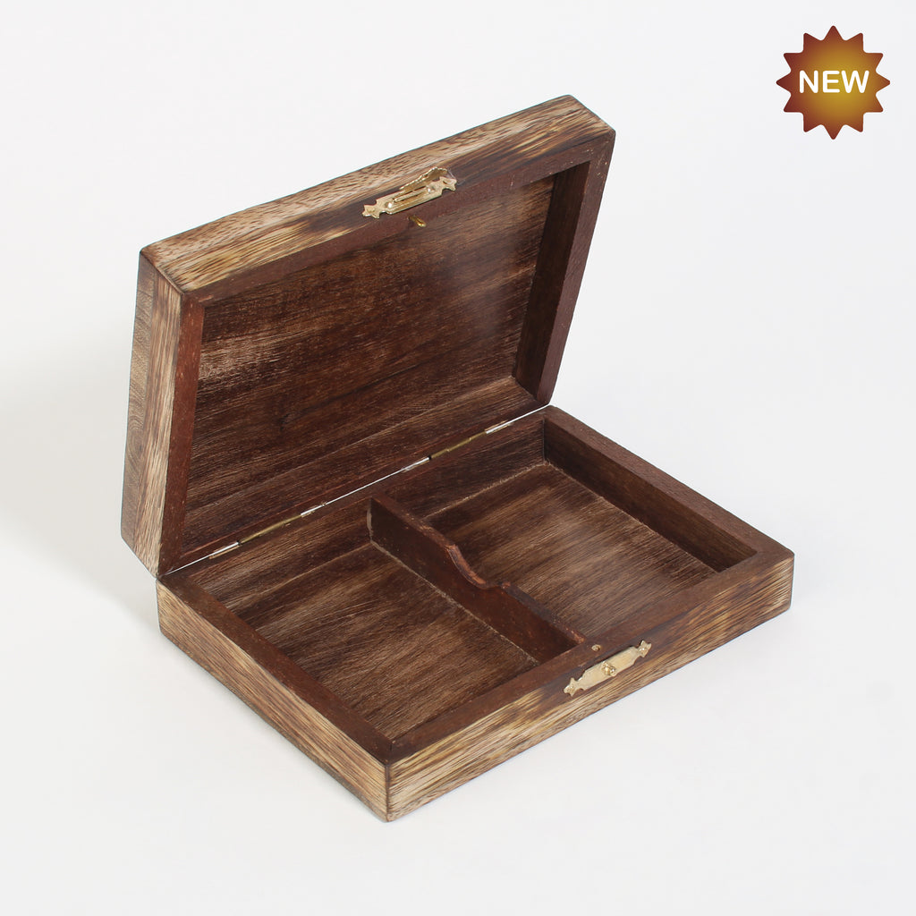 Rusticity® Wooden Double Playing Card Holder | Mango wood| Handmade |(6x4.5x1.5 in)