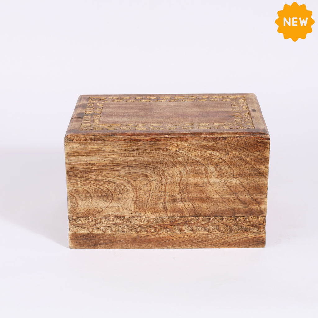 Rusticity® Wood Human Ashes Urns, Solid Urns for human Ashes, Memorial Keepsake Ashes Box,Handcrafted Adult Funeral Urn|Mango  Wood|Handmade| (9x6x5.5 in)