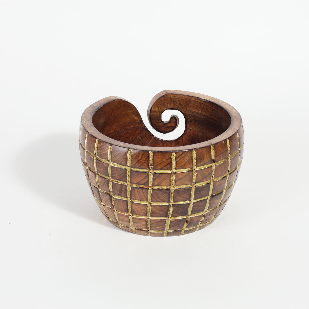 Rusticity® Wooden Yarn Bowl, Knitting Crochet, Knitting Bowl, Crochet Holder |Mango Wood|Handmade |(6.5x6.5x4 in)