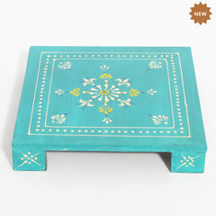 Rusticity Wooden Pooja Chowki / Altar Table | Handmade | (8x8x1.2 in)