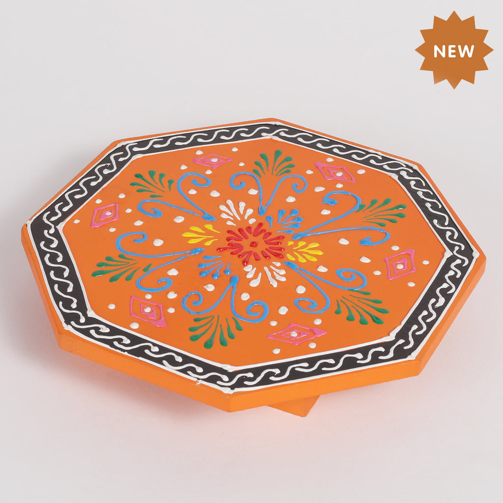 Rusticity Wooden Pooja Chowki/Altar Table|Handmade| (7.5x7.5x1 in)