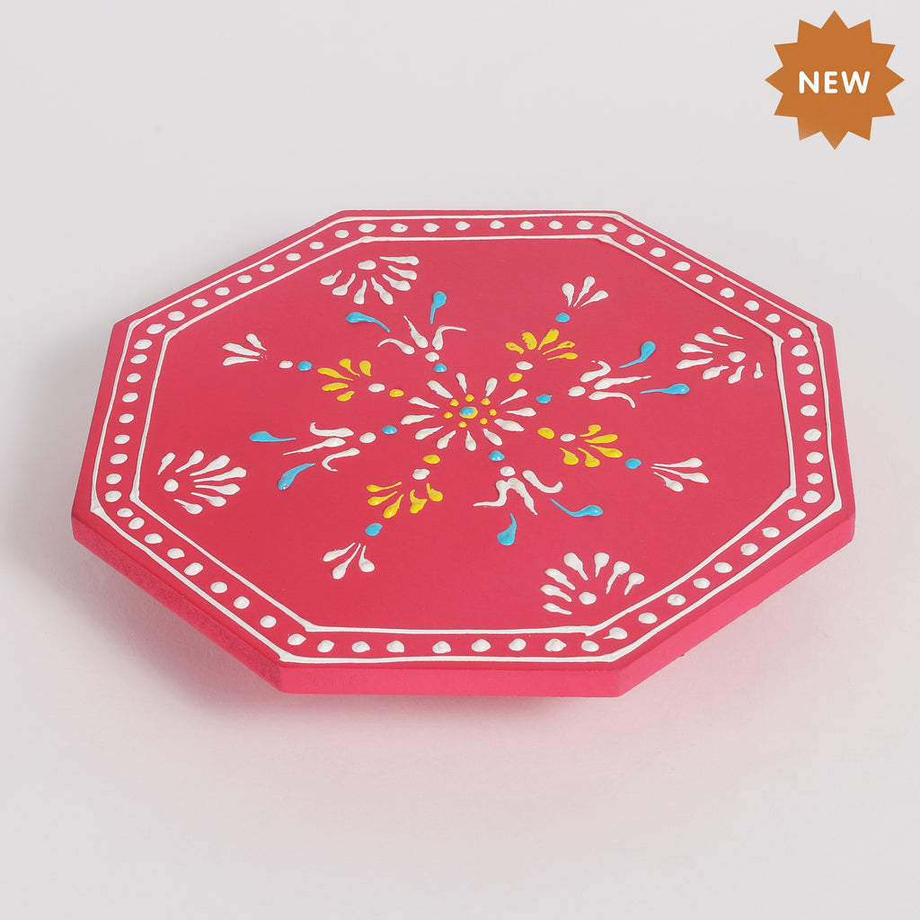 Rusticity Wooden Pooja Chowki/Altar Table | Handmade| (7.75x7.75x1.25 in)