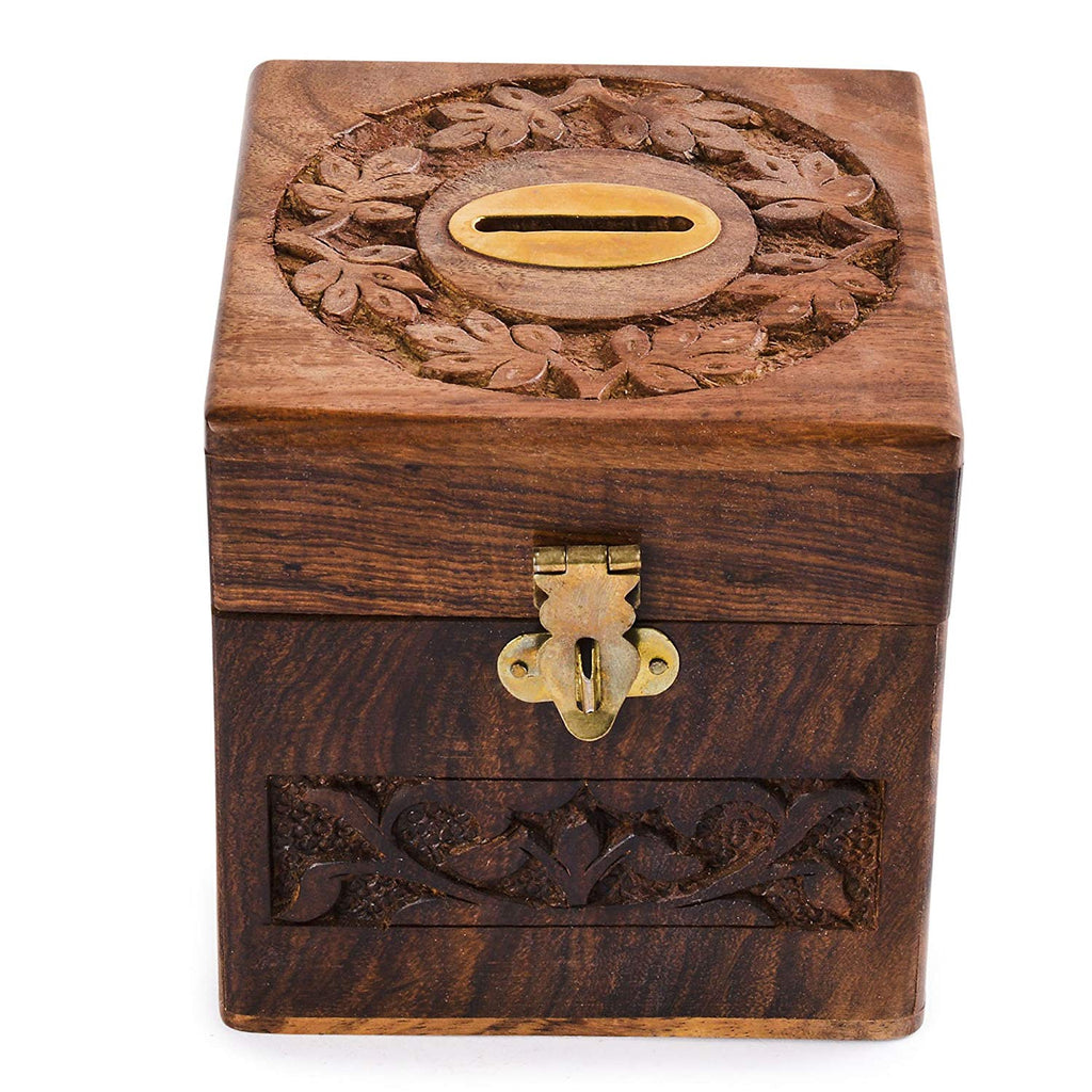 Rusticity Wood Piggy Bank for Kids and Adults - Brass Centre | Handmade | (4x4 in)