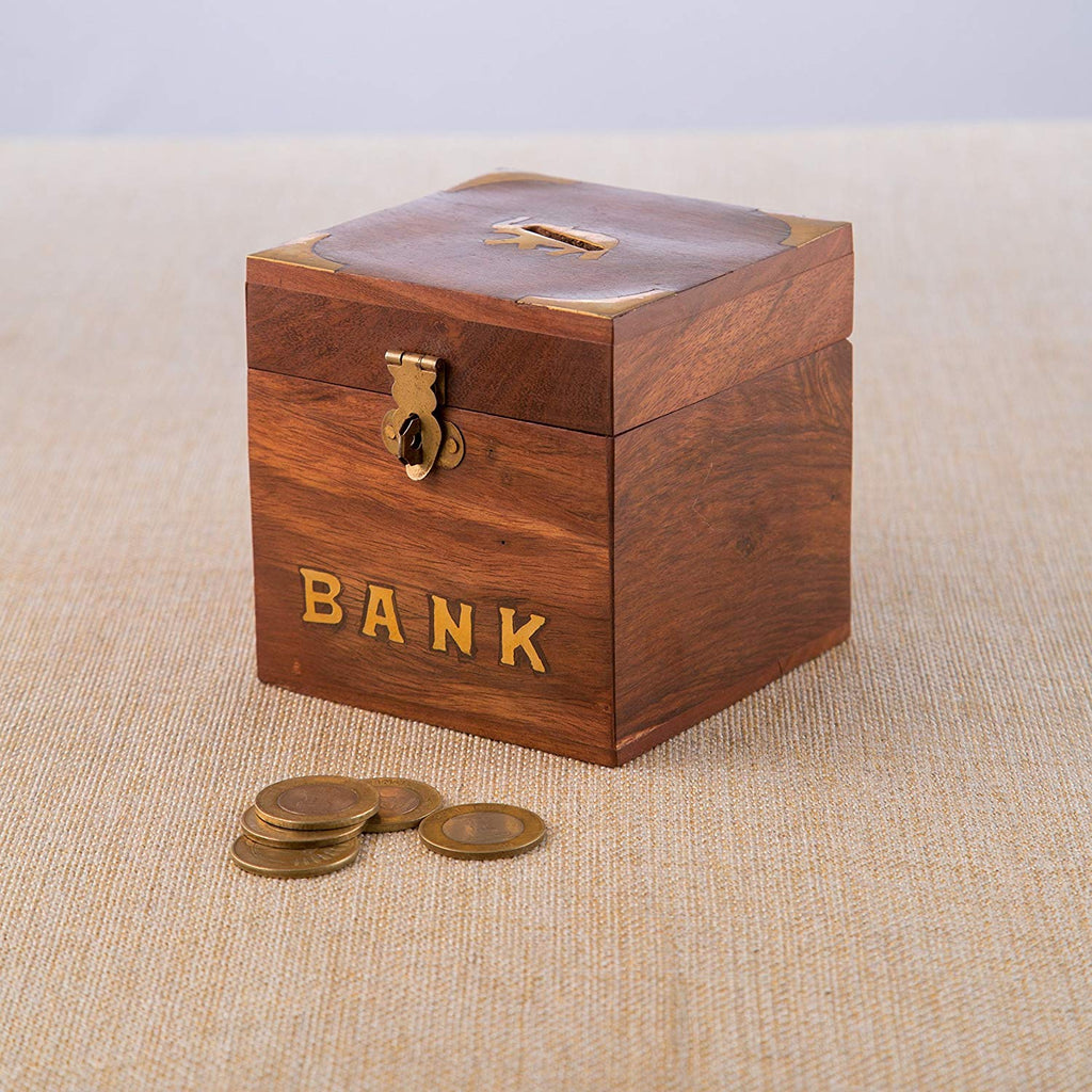 Rusticity Wood Piggy Bank for Kids and Adults - Elephant motif | Handmade | (4x4 in)